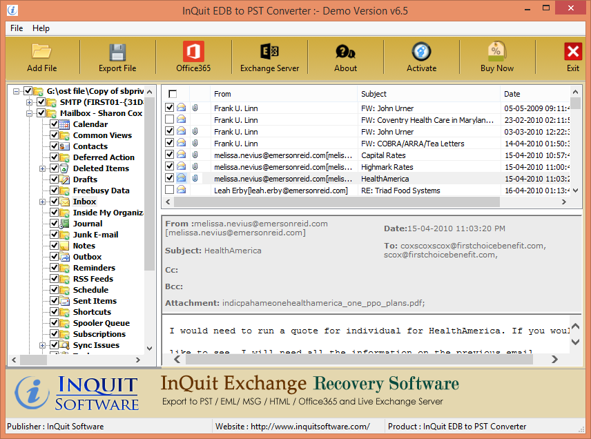 Windows 7 InQuit EDB to PST 6.5 full